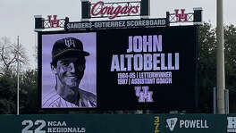 A tribute to John Altobelli was displayed on the scoreboard at University of Houston's Schroeder Park on Monday, Jan. 27, 2020. Altobelli, who played at UH in 1984 and 1985, died in a helicopter crash along with Kobe Bryant and seven others on Sunday, Jan. 26.