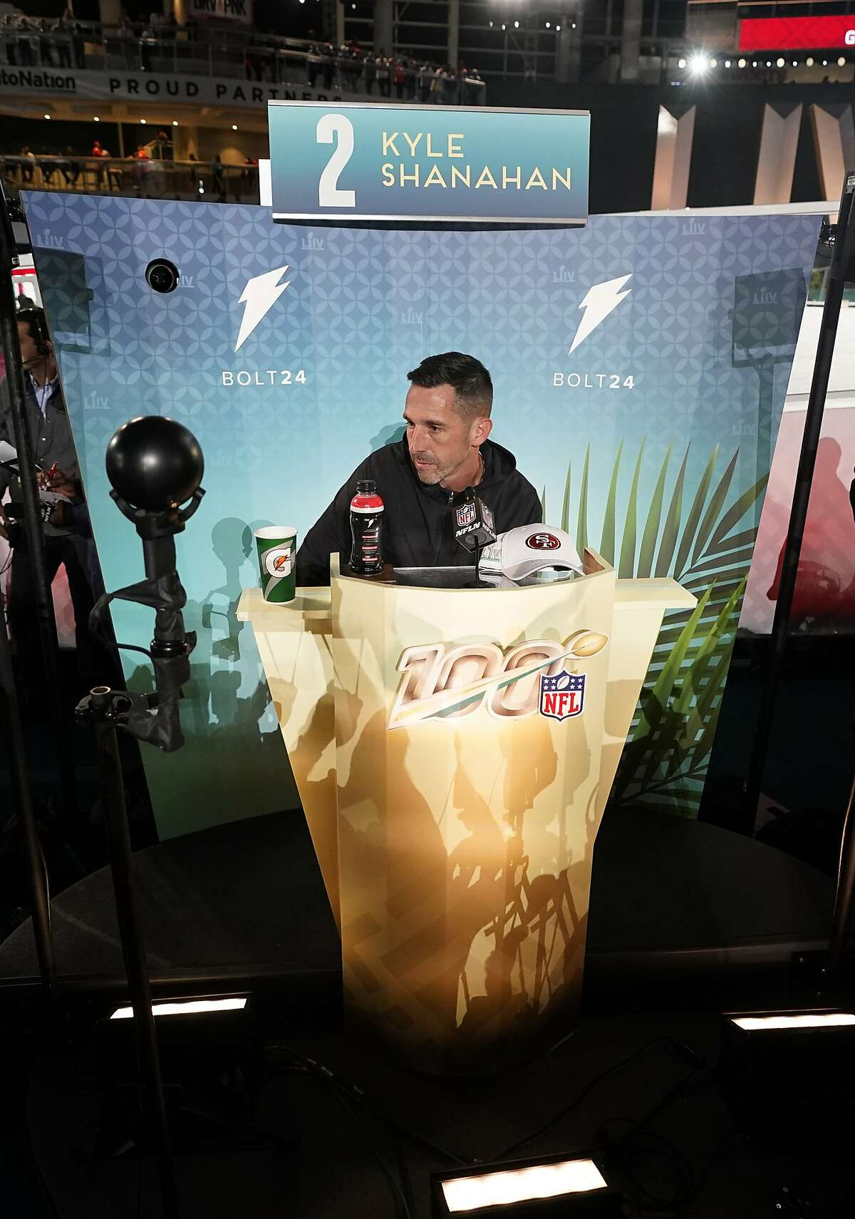 San Francisco 49ers coach Kyle Shanahan speaks to the media during Opening Night for the NFL Super Bowl 54 football game Monday, Jan. 27, 2020, at Marlins Park in Miami. (AP Photo/David J. Phillip)