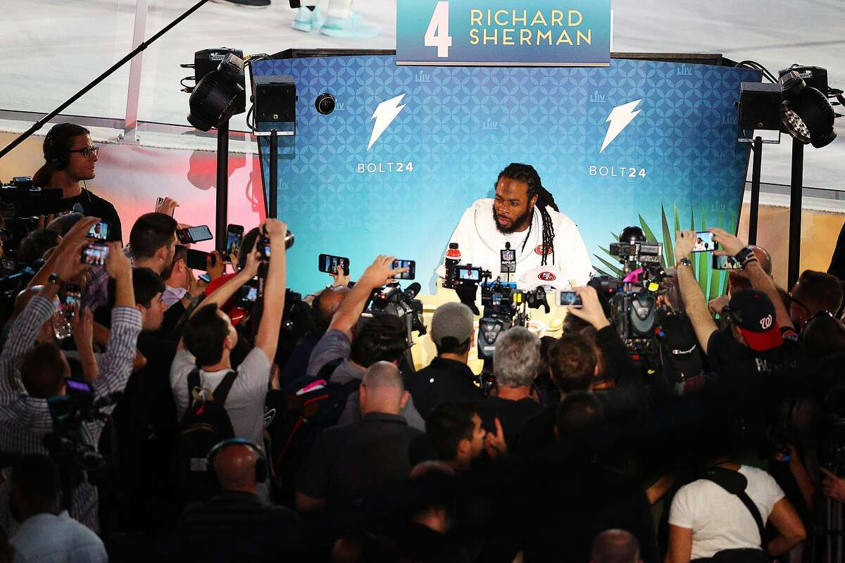 MIAMI, FLORIDA - JANUARY 27: Cornerback Richard Sherman #25 of the San Francisco 49ers speaks to the media during Super Bowl Opening Night presented by BOLT24 at Marlins Park on January 27, 2020 in Miami, Florida. (Photo by Rob Carr/Getty Images)
