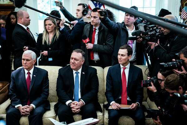 Vice President Mike Pence, Secretary of State Mike Pompeo and White House adviser Jared Kushner listen as President Donald Trump meets with Israeli Prime Minister Benjamin Netanyahu in the Oval Office on Monday, Jan. 27, 2020.