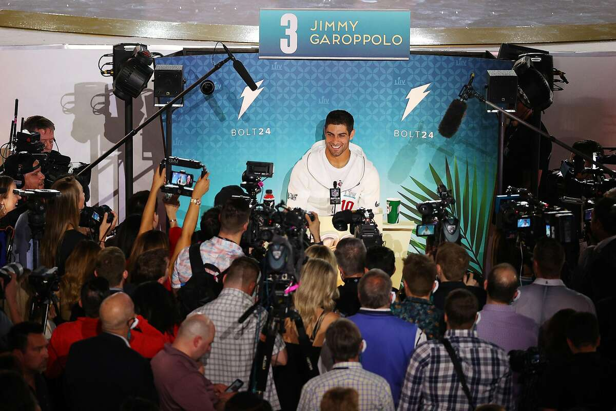 Quarterback Jimmy Garoppolo #10 of the San Francisco 49ers speaks to the media during Super Bowl Opening Night presented by BOLT24 at Marlins Park on January 27, 2020 in Miami, Florida. (Photo by Rob Carr/Getty Images)