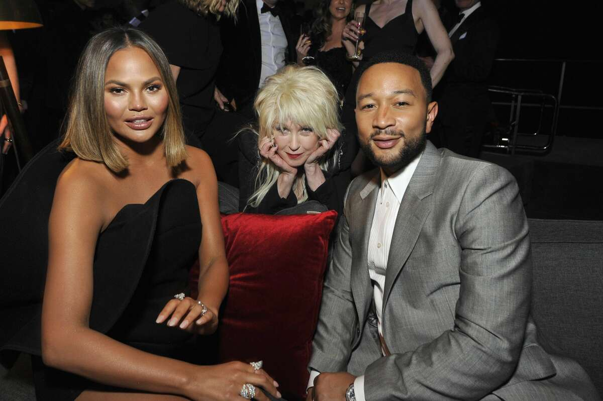LOS ANGELES, CALIFORNIA - JANUARY 26: (L-R) Chrissy Teigen, Cyndi Lauper, and John Legend attend the Sony Music Entertainment 2020 Post-Grammy Reception at NeueHouse Hollywood on January 26, 2020 in Los Angeles, California. (Photo by John Sciulli/Getty Images for Sony)