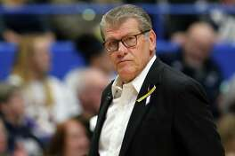 STORRS, CONNECTICUT - JANUARY 27: Head coach Geno Auriemma of the UConn Huskies looks on during USA Women's National Team Winter Tour 2020 game between the United States and the UConn Huskies at The XL Center on January 27, 2020 in Hartford, Connecticut. (Photo by Maddie Meyer/Getty Images)
