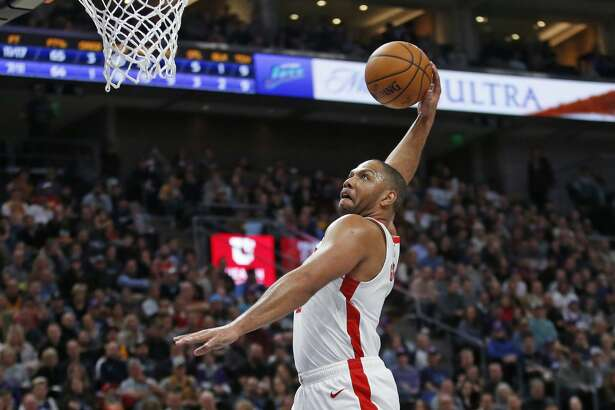Houston Rockets guard Eric Gordon (10) goes to the basket following the whistle after a foul in the first half during an NBA basketball game against the Utah Jazz, Monday, Jan. 27, 2020, in Salt Lake City. (AP Photo/Rick Bowmer)
