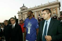 """In this Sept. 29, 2011, file photo, U.S. basketball player Kobe Bryant arrives at the Campidoglio, or capitol hill, in Rome, Italy. In Europe where Bryant grew up, the retired NBA star is being remembered for his """"Italian qualities."""" Italian basketball federation president Giovanni Petrucci tells The Associated Press that Bryant is """"particularly important to us because he knew Italy so well, having lived in several cities here. He had a lot of Italian qualities."""" (AP Photo/Riccardo De Luca, File)"""
