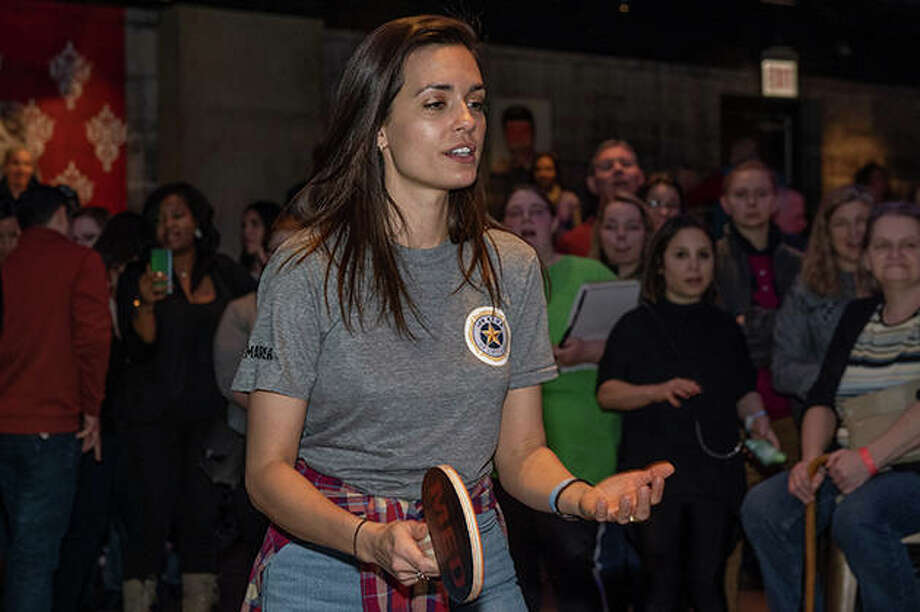 "Torrey DeVitto, an actress on the television drama ""Chicago Med,"" participates Sunday at Spin Chicago in the Cast Paddle Battle to benefit the 100 Club of Chicago. The 100 Club provides for the families of first responders who have died in the line of duty. The Cast Paddle Battle pitted the stars of Chicago-based shows ""Chicago Fire,"" ""Chicago P.D"" and ""Chicago Med"" against one another — and real Chicago first responders — in ping pong. Photo: Timothy Hiatt 