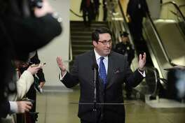 Jay Sekulow, attorney for President Trump, speaks at a short briefing during a recess of the Senate impeachment trial on Jan. 24, 2020.