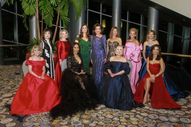 EMBARGOED FOR SOCIETY REPORTER UNTIL JAN 30. Women of Distinction Zane Carruth, from left, Theresa Chang, Kelley Lubanko, Myrtle Jones, Brigitte Kalai, Betty Hrncir, Joy McCormack, Elsie Eckert, Mary Tere Perusquia, Cheryl Byington and Hannah McNair at the Winter Ball benefiting the Crohn and Colitis Foundation on January 25, 2020 at the Hilton Americas Houston.