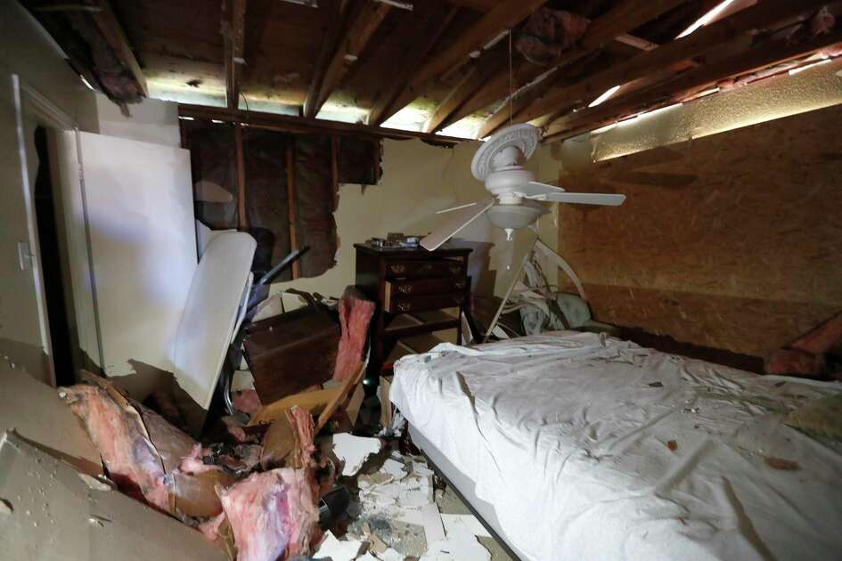 Interior bedroom of Hortensia Lima's home which was seriously damaged and deemed uninhabitable on Stanford Court in Houston, Sunday, Jan. 26, 2020, after the Friday morning explosion at the Watson Grinding Manufacturing plant.
