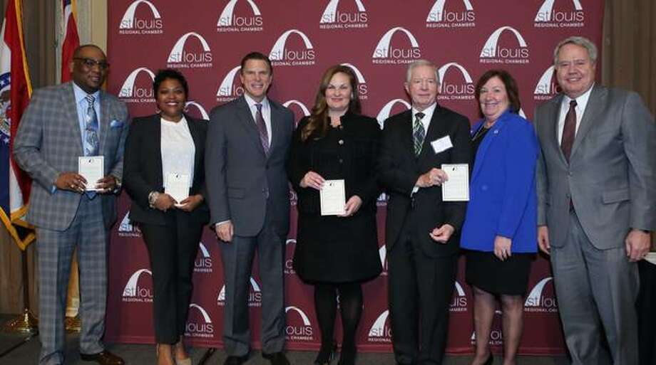 Honorees at the recent St. Louis Chamber Champions Awards dinner included, state Reps. Monica Bristow, D-Alton, (second from right), Jay Hoffman, D-Swansea, and LaToya Greenwood, D-East St. Louis, and state Sens. Rachelle Crowe, D-Glen Carbon, and Christopher Belt, D-Centreville.