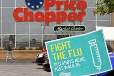 A flu shot sign outside a Price Chopper Tuesday Oct. 2, 2018 in Niskayuna, NY. (John Carl D'Annibale/Times Union)