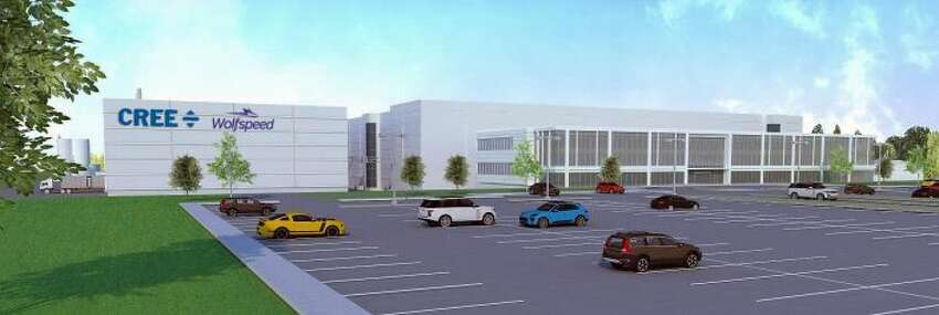 A rendering of Cree's silicon carbide wafer factory being built in Utica.