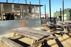 The outdoor courtyard space at Alamo Smoke, located at 358 E. Craig Place.