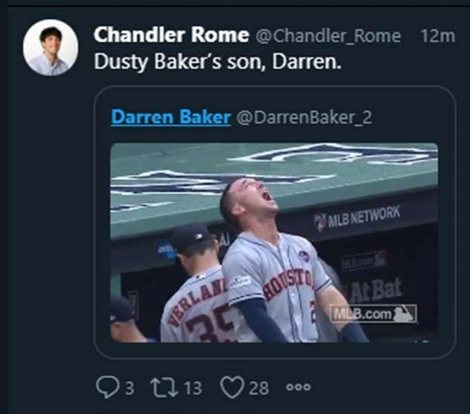 Dusty Baker's son, Darren Baker, an infielder for the California Golden Bears, tweeted about his father's reported hiring Tuesday morning, along with a GIF of Astros star Alex Bregman which has now been deleted. Photo: Twitter