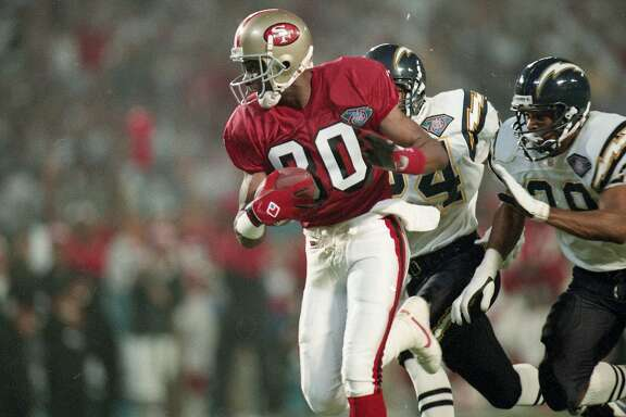 49ers beat the San Diego Chargers 49-26 to win Super Bowl XXIX, January 29, 1995   Jerry Rice catch three touchdowns in the game