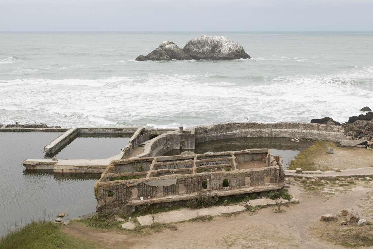 The remains of the Sutro Baths at the North end of Ocean Beach, the most treacherous swimming spot in California. Since 2014 there have been eight reported drowning deaths at Ocean Beach.