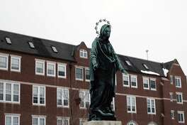 A Virgin Mary statue outside the headquarters for the Sisters of St. Francis, a Catholic congregation in Dubuque, Iowa, that has been visited by Joe Biden.
