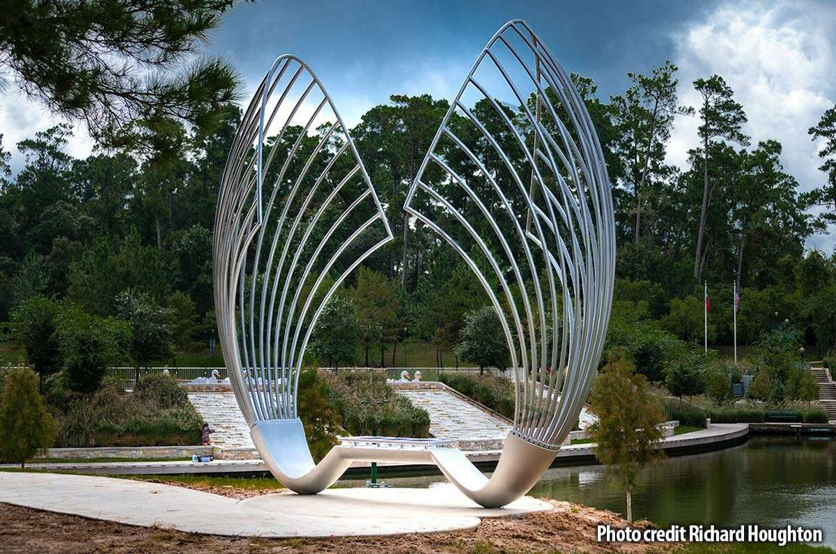 """One of the most recent art benches unveiled in The Woodlands in 2018 is titled """"Proud Souls"""" and is the work of Gaston Carrio. In the latest round of art benches, Carrio adds another piece with his work, """"Mystical Senses."""" Arts Council officials described it as, """"an art bench sculpture that is an open invitation to the infinitely magical experience of nature and the circle of life, surrounding one in complete sensory immersion."""""""