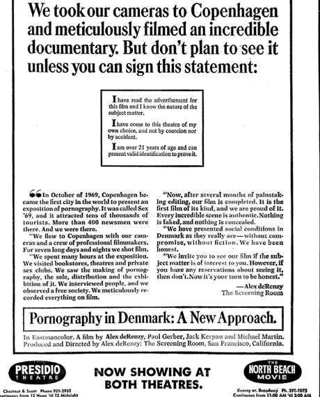 "This ad for Alex de Renzy's ""Pornography in Denmark"" appeared in the San Francisco Chronicle on Feb. 24, 1970, the same day it premiered. Photo: San Francisco Chronicle"