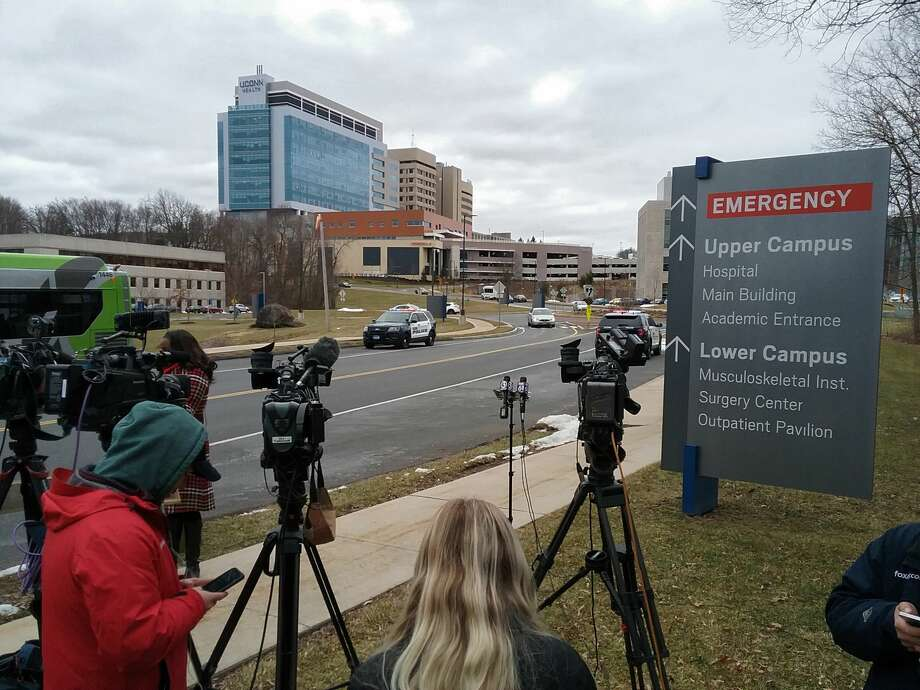 Media awaits a press conference at UConn Health in Farmington regarding the status of Fotis Dulos on Tuesday, Jan. 28, 2020. Photo: Christian Abraham / Hearst Connecticut Media