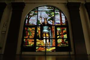 The stained-glass window at the Herman Sons building in downtown San Antonio was built in 1911 as an homage to Arminius or Hermann the Cherusker, the Germanic leader who drove the Roman Empire out of Germany in 9 AD and is the namesake of the Hermann Sons fraternal organization.