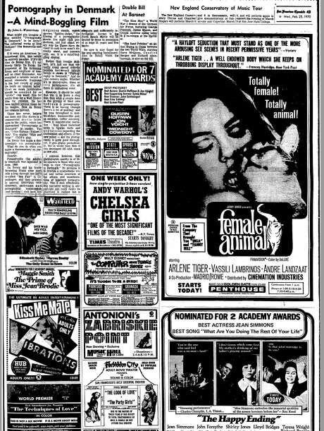 "The Feb. 25, 1970 review of ""Pornography in Denmark"" in the San Francisco Chronicle. It appears alongside ads for adult theaters, including a sexploitaiton movie called ""Female Animal."" Photo: San Francisco Chronicle"