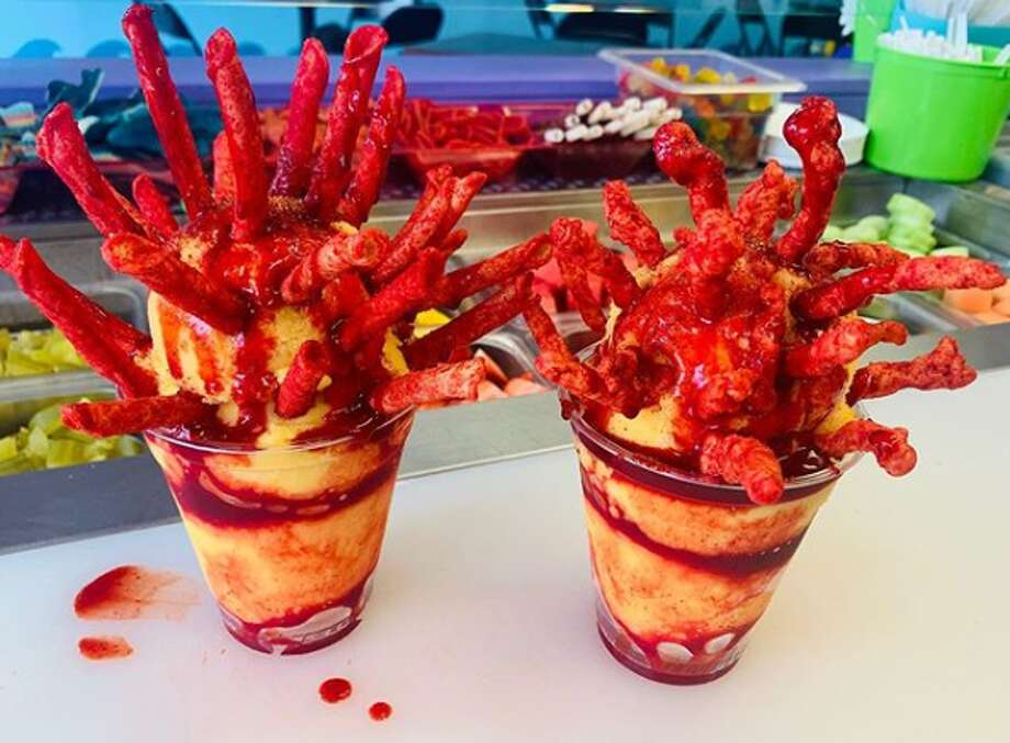 Ice Ice Baby, at 2113 Bandera Road, sells mangonadas topped with either Hot Cheetos or Takis. Photo: Courtesy, Ice Ice Baby