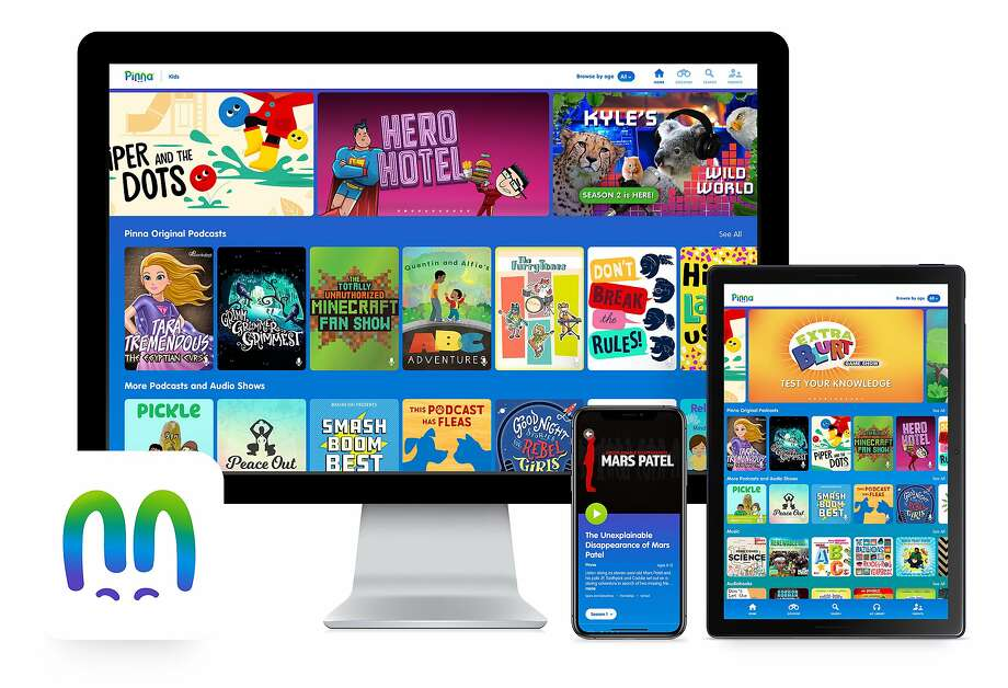 This product image released by Pinna shows the Pinna app displayed on a computer, mobile phone and tablet. The on-demand streaming service offers podcast, audiobook and music compilations for kids. (Pinna via AP) Photo: AP