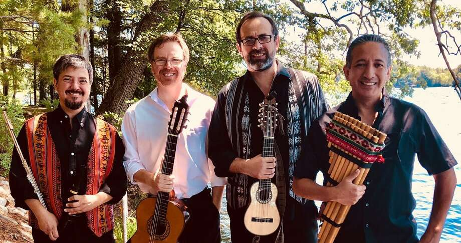 The Crescendo Vocal Ensemble is joined Feb. 1 by Alturas Duo (Carlos Boltes, charango and viola, Scott Hill, guitar) and Gonzalo Cortes (quena, zampoña and percussion), as well as tenor and quena player Ignacio Ugarte from Barcelona, Spain. Christine Gevert directs from the organ, with Hideki Yamaya on theorbo. Photo: Contributed Photo