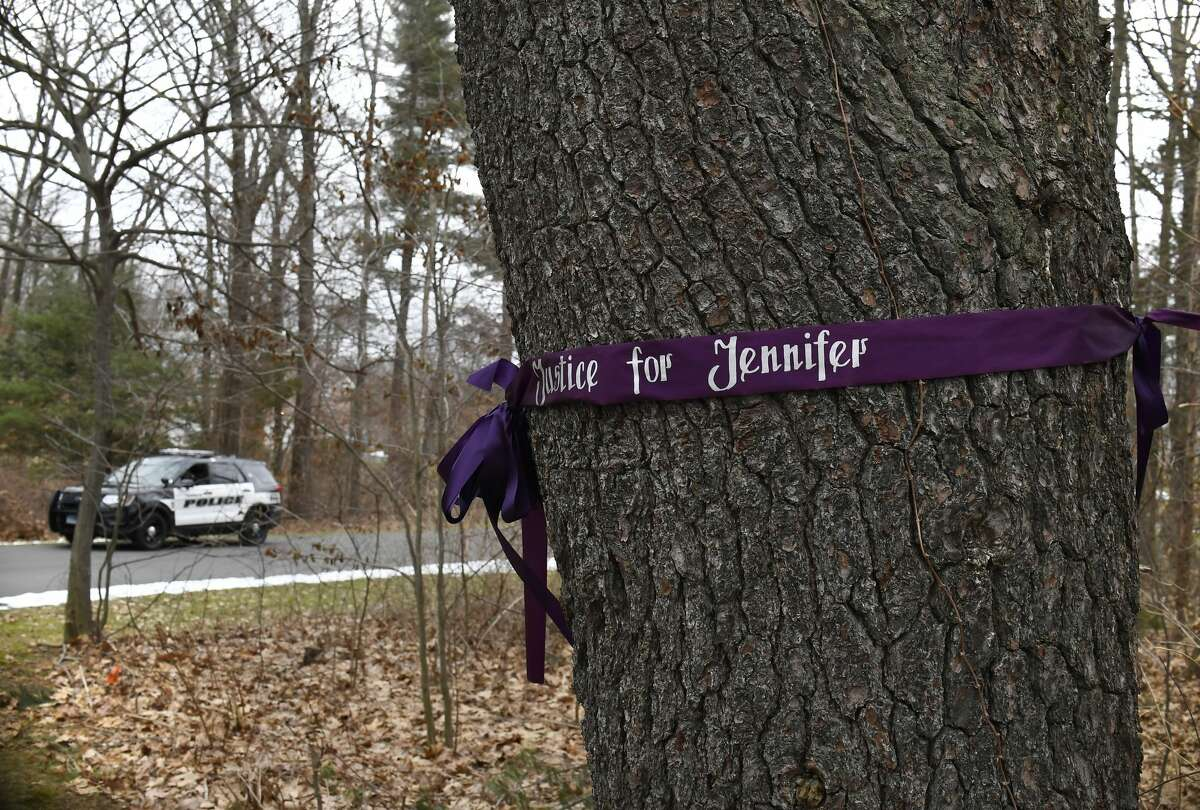 A memorial for Jennifer Dulos is seen Tuesday, Jan. 28, 2020, in Farmington, Conn.  Jennifer Dulos and the children, who are now living with her mother in New York, settled in New Canaan, where she disappeared on May 24, 2019. Police say Fotis Dulos attacked her in her garage and drove off with her body. He denied the allegations. A lawyer administering Fotis Dulos' estate has asked a judge to declare Jennifer Dulos legally dead so he can access certain funds to pay creditors, but a probate judge on Thursday said she needed more time to decide.