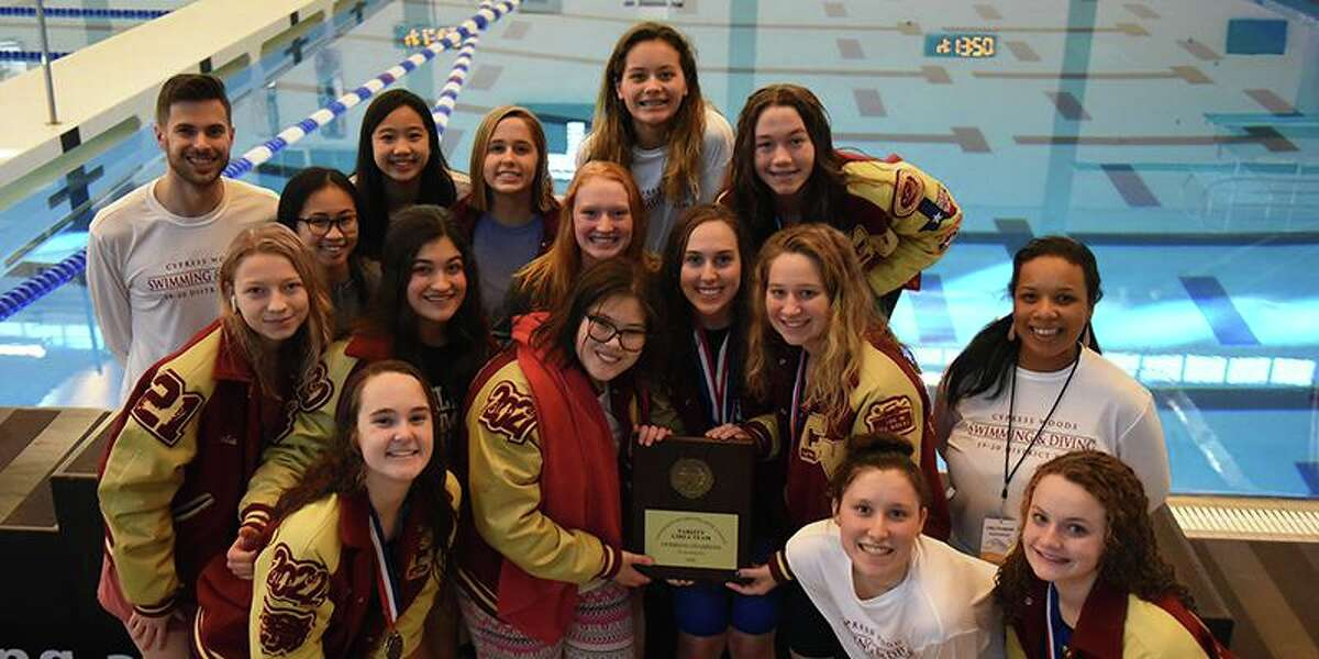 The Cypress Woods High School girls' swimming team won the District 18-6A team championship for the fourth year in a row.