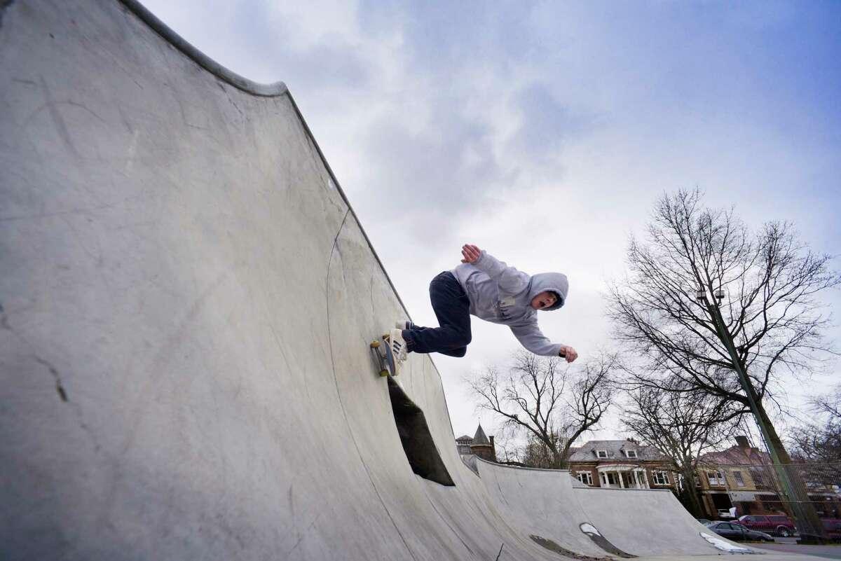 Eric Levy of Delmar rides his skateboard through the skateboard park in Washington Park on Tuesday, Jan. 28, 2020, in Albany, N.Y. (Paul Buckowski/Times Union)