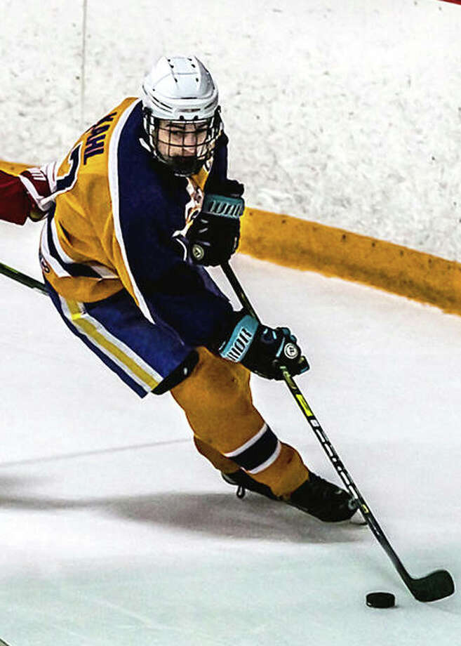 Nolan Kahl scored six goals, including the game winner late in the third period, helping Bethalto to a come-from-behind 11-10 win over Highland Monday at the Granite City Ice rink. Photo: Pete Hayes | The Telegraph