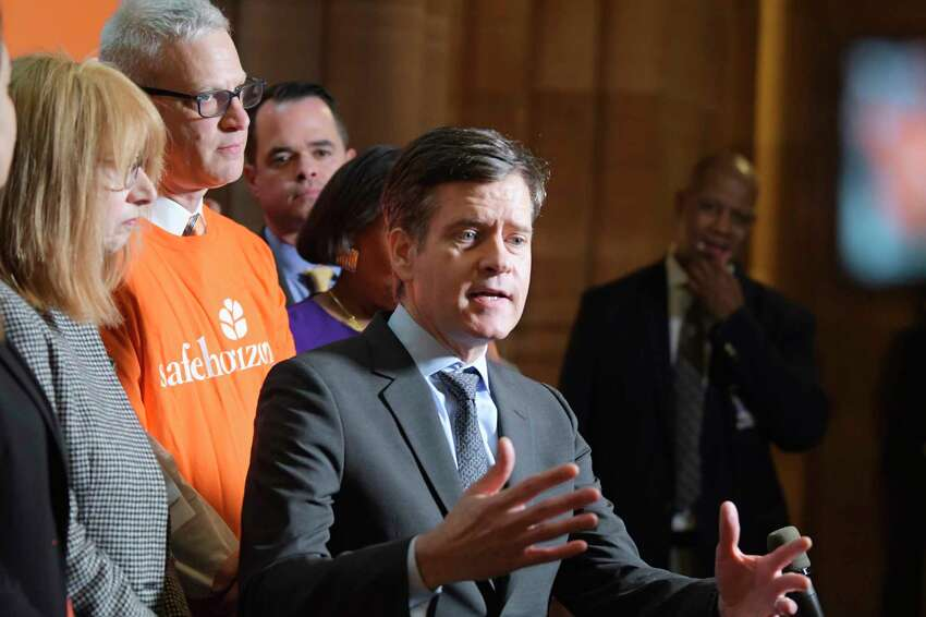 Senator Brad Hoylman speaks at a press conference at the Capitol to mark the one-year anniversary of the passage of the Child Victims Act on Tuesday, Jan. 28, 2020, in Albany, N.Y. (Paul Buckowski/Times Union)