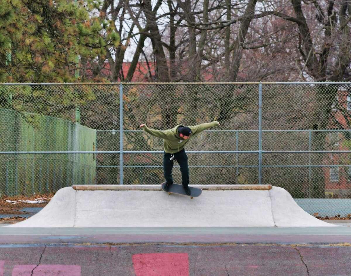 Keegan Browne of Delmar rides his skateboard through the skateboard park in Washington Park on Tuesday, Jan. 28, 2020, in Albany, N.Y. (Paul Buckowski/Times Union)