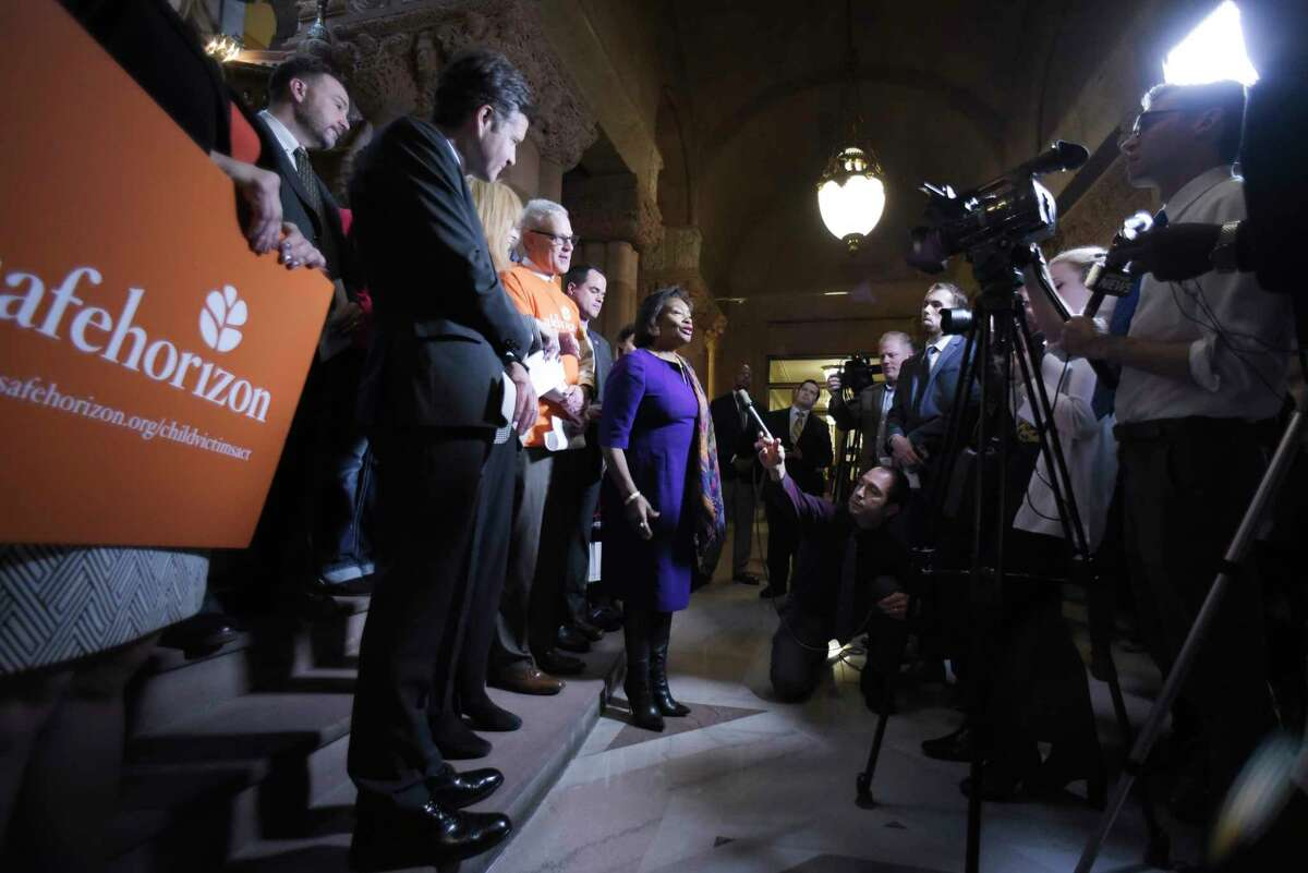 Senate Majority Leader Andrea Stewart-Cousins speaks at a press conference at the Capitol to mark the one-year anniversary of the passage of the Child Victims Act on Tuesday, Jan. 28, 2020, in Albany, N.Y. (Paul Buckowski/Times Union)