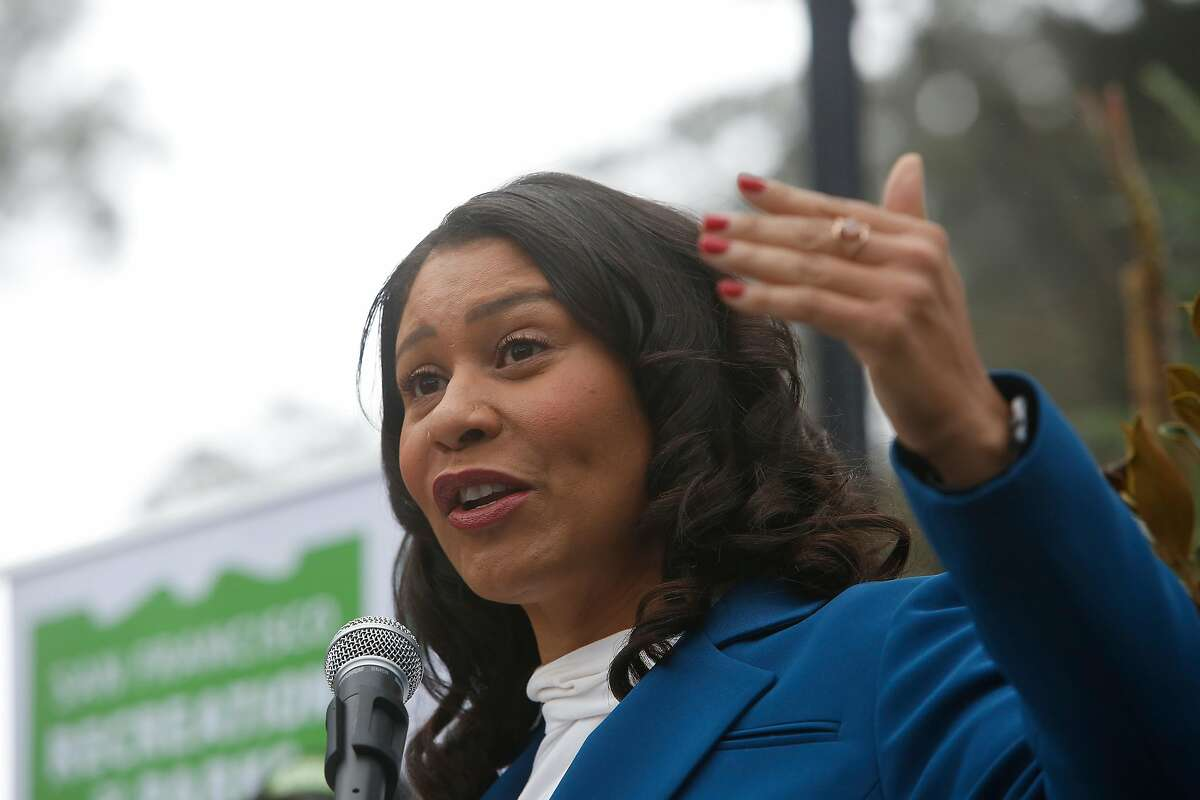Mayor London Breed speaks during at an event celebrating the 150th anniversary of Golden Gate Park where volunteers and Rec and Park staff planted 150 trees in Golden Gate Park on Tuesday, January 28, 2020 in San Francisco, Calif.