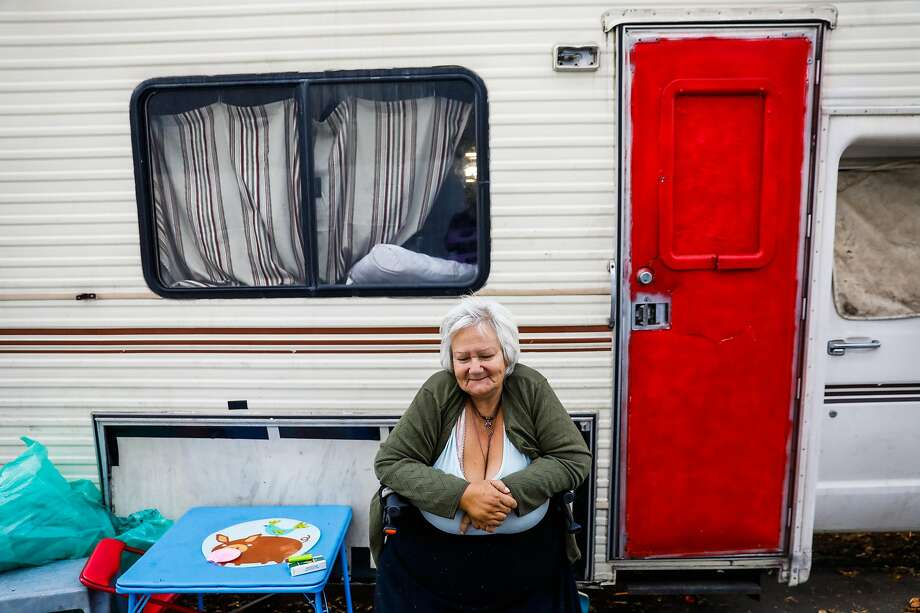 Lorene Ransbottom, 58, sits outside her daughters RV where she has been living in Berkeley, California, on Tuesday, July 23, 2019. Photo: Gabrielle Lurie / The Chronicle