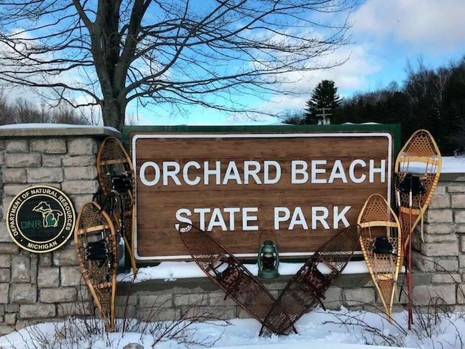 About50 snowshoe hikers participated in the Lantern Snowshoe Hike at Orchard Beach State Park on Jan. 18. (Courtesy photo)