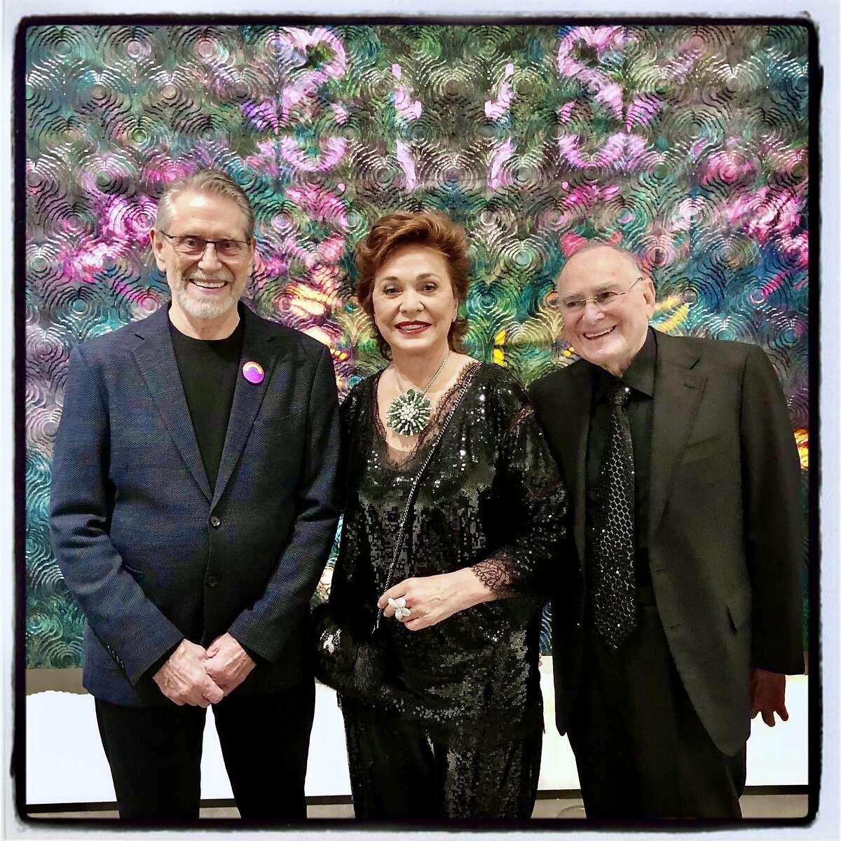 Artist Stephen Kaltenbach (left) with philanthropists Maria Manetti Shrem and Jan Shrem. Jan. 25, 2020