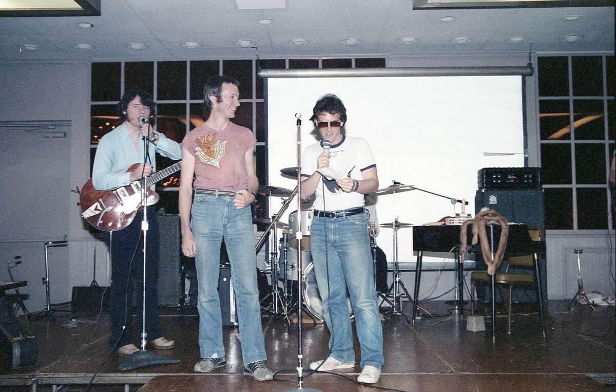 Peter Tork, center, with John Sheridan (a Mike Nesmith lookalike) and Charles Rosenay at a 1982 convention.