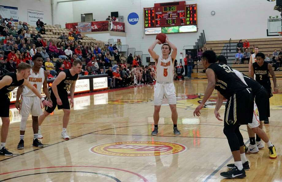 Ferris State junior Logan Ryan attempts a free throw during the Bulldogs' 82-77 GLIAC win over Purdue Northwest on Jan.25 at Wink Arena. (Pioneer file photo/Joe Judd)
