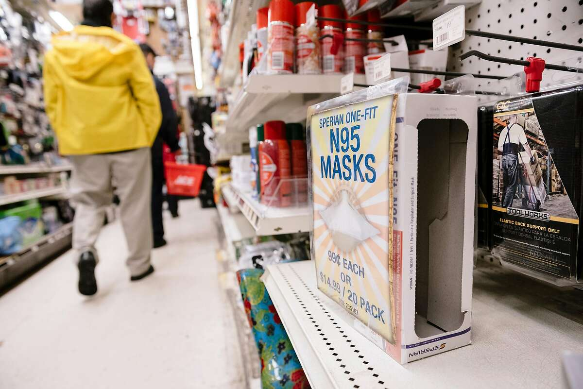 An empty box is seen on a shelf after the downtown location of Cole Hardware sold out of N95 filter masks, in San Francisco, Calif, on Tuesday, January 28, 2020.