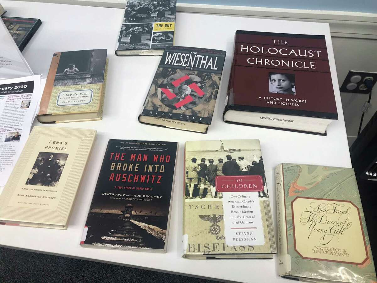 Books displayed at the Holocaust remembrance event.