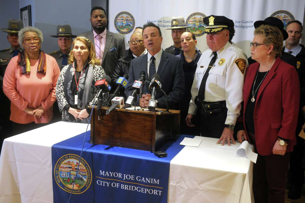State Police Lt. Col. David Montini speaks at a news conference at the Morton Government Center, in Bridgeport, Conn. Jan. 28. 2020. Police and elected officials gathered to address violence prevention measures following several recent shooting incidents in the city.