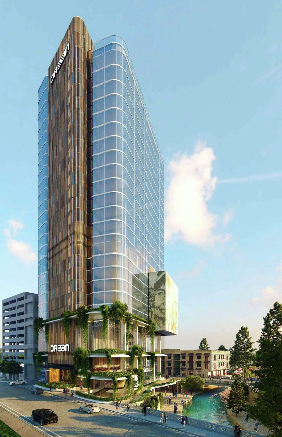 A rendering of the 217-room hotel Dream Hotel Group plans to open along the River Walk downtown.
