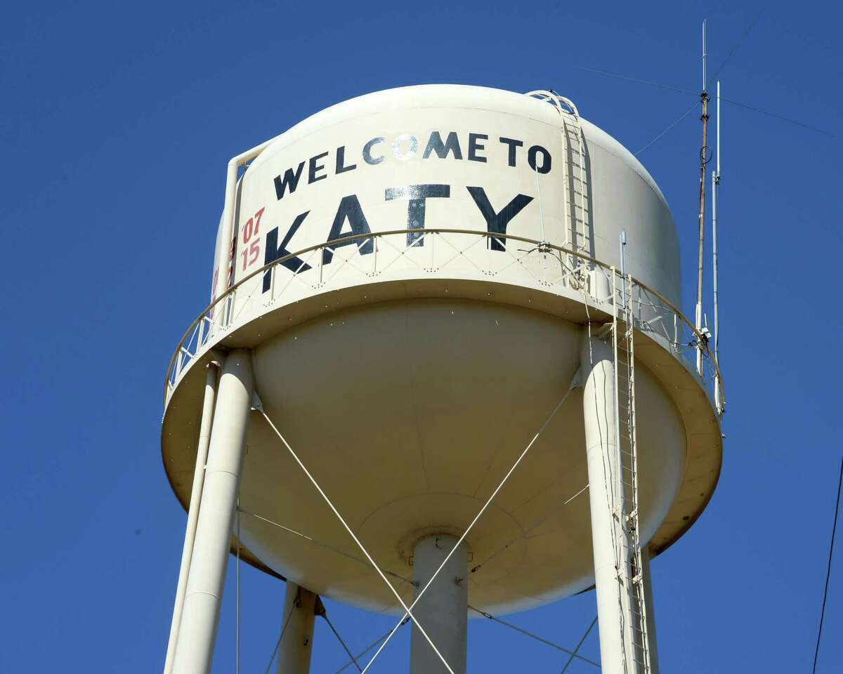 Here's  a water tower in Katy on April 20, 2019.