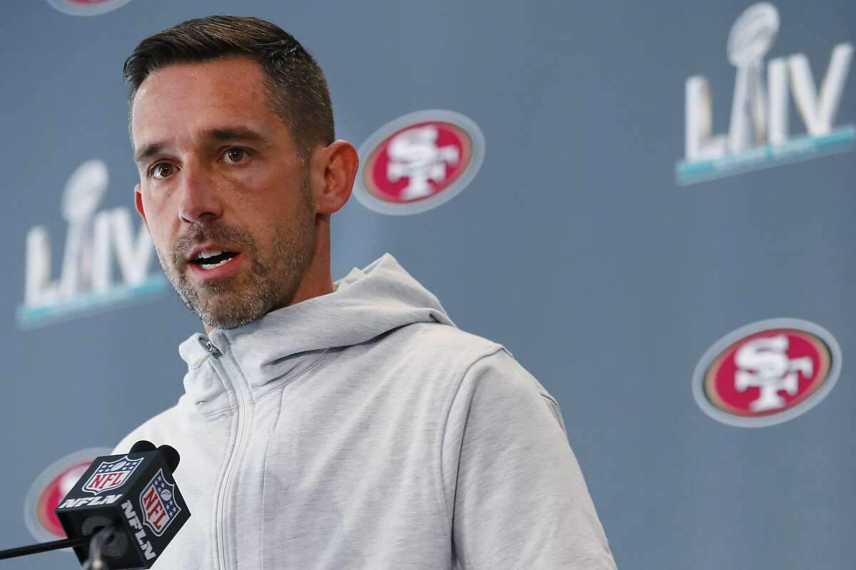 San Francisco 49ers head coach Kyle Shanahan speaks during a news conference for the NFL Super Bowl 54 football game, on Tuesday, Jan. 28, 2020, in Miami. (AP Photo/Wilfredo Lee)