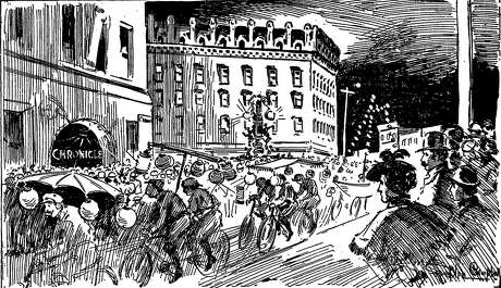 An art graphic in the San Francisco Chronicle on July 26, 1896, captured a bike rally with 5,000 riders and spectators on Market Street. Photo: Chronicle Archive
