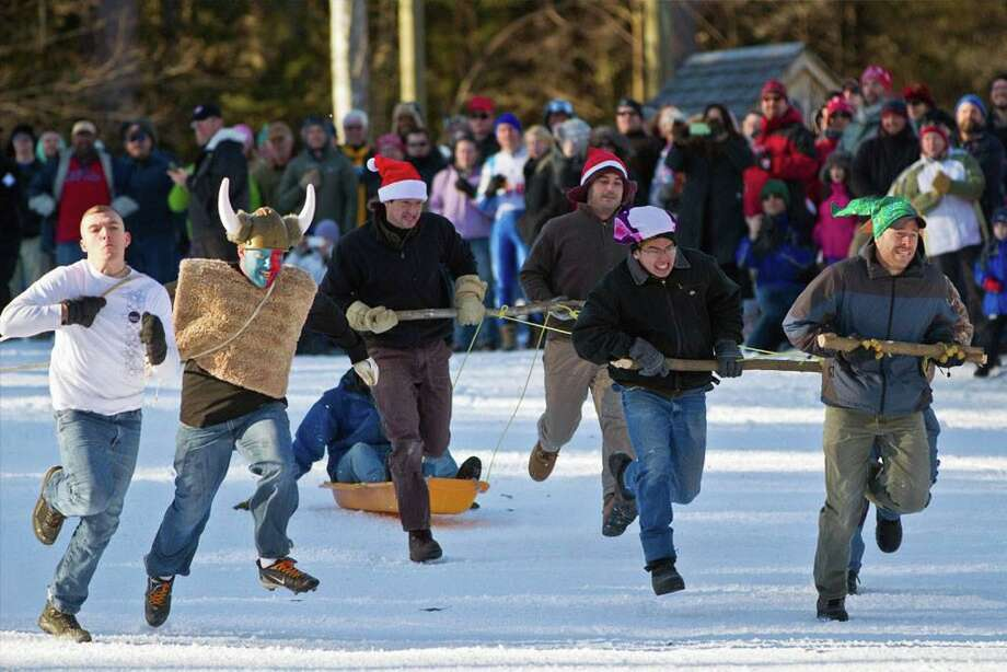 Teams are welcome to sign up for JumpFest's Human Dogsled Race, an unusual winter event that is part of the 94th annual Ski Jumping Championships in Salisbury Feb. 7-9. Photo: Jumpfest / Contributed Photo